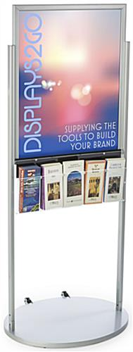 Silver 22 x 28 Movable Poster Stand with 5 Literature Compartments for Brochures