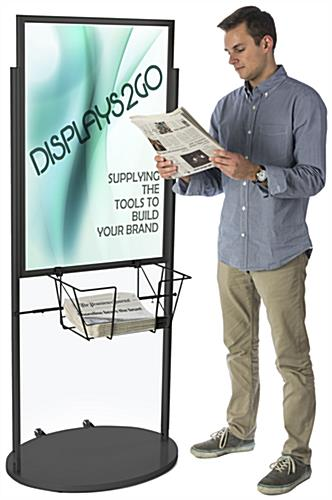 Black 24 x 36 Poster and Literature Stand with Wheels for Graphics