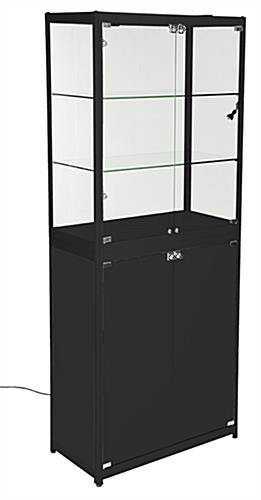 Mobile Display Cabinet Glass Tradeshow Stand With