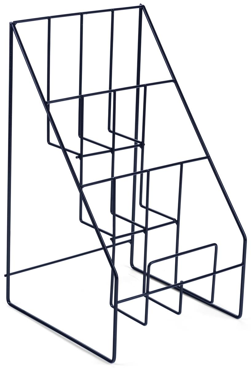 3 tier counter magazine display black steel wire