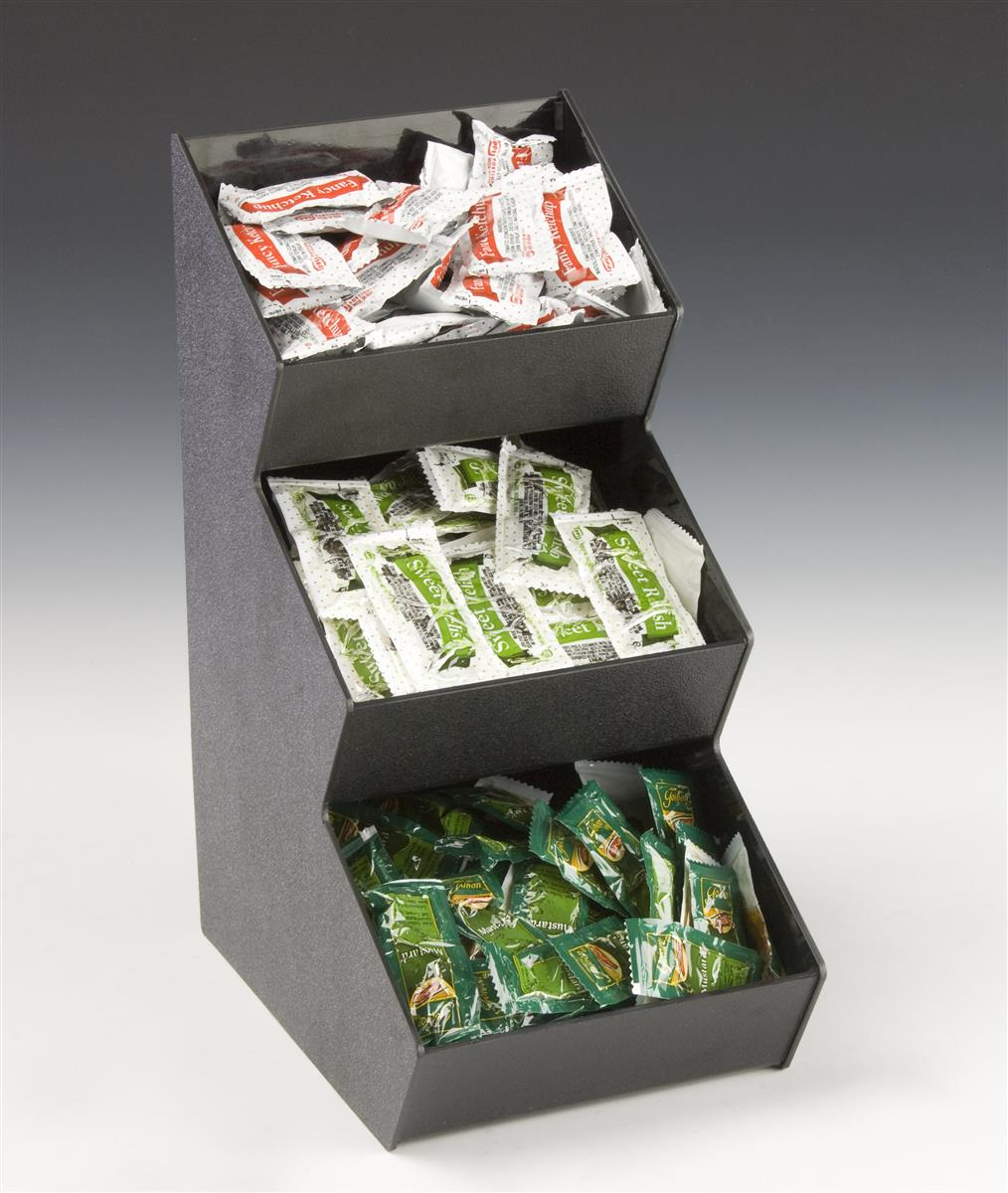 Condiment Packet Dispenser Tiered Tower With Three Bins