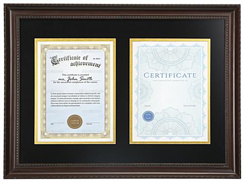 Dual Certificate Display | Brown w/Black & Gold Matting