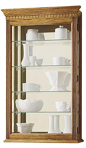 oak curio wall case