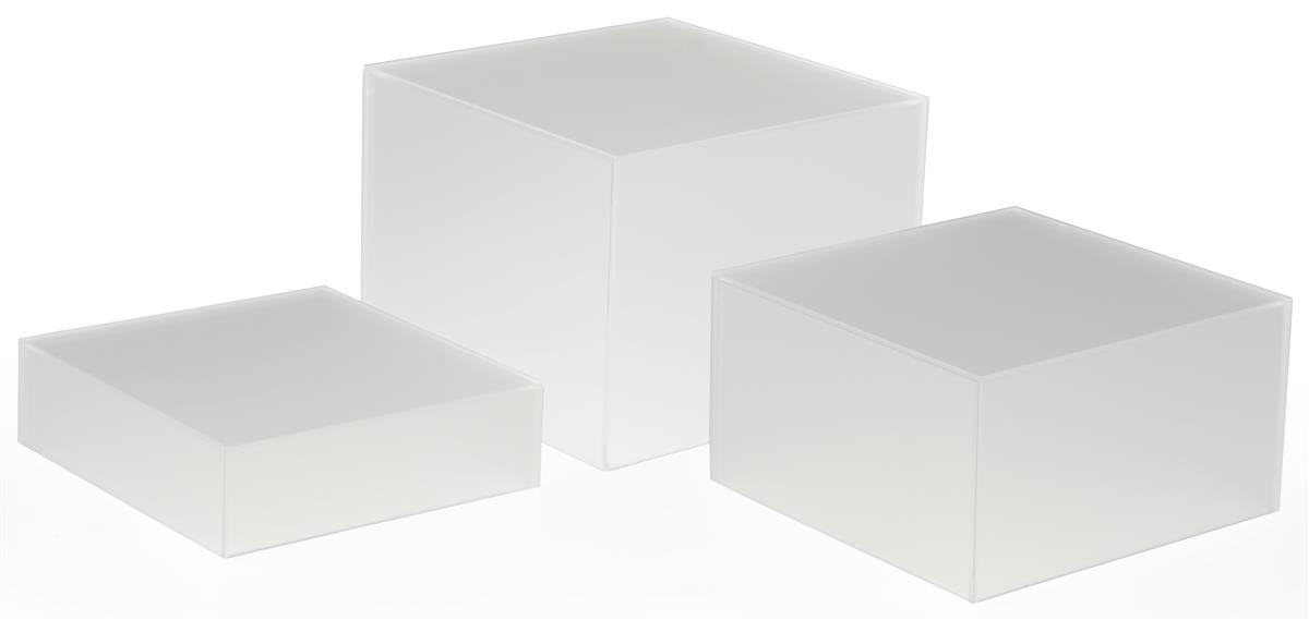 2 Way Acrylic Boxes Set Of 3 Frosted Clear Plastic Cubes