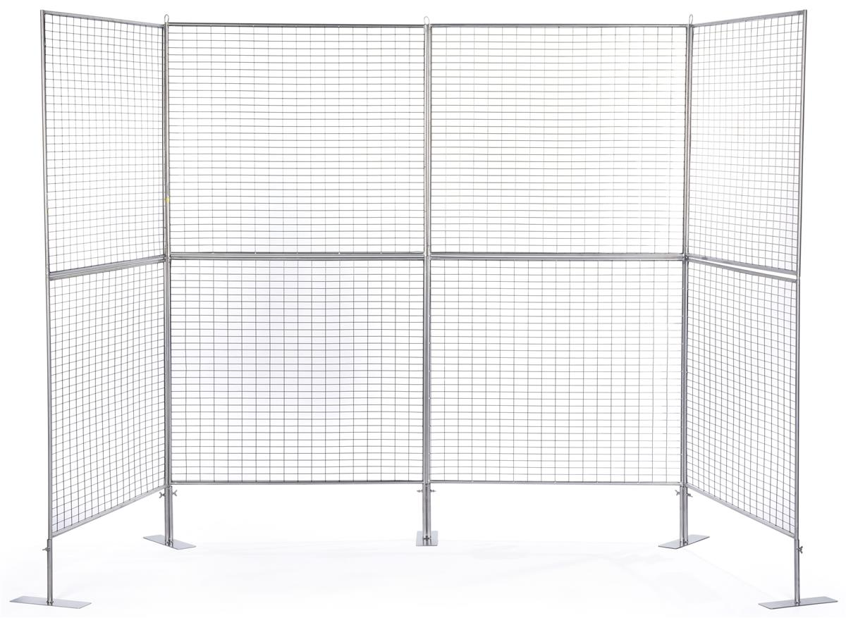 4 Panel Gridwall Art Display Stand Silver Finish Iron Grid