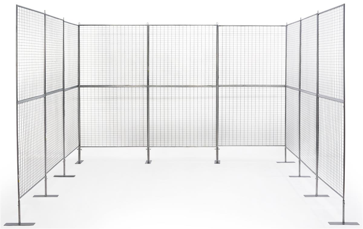 9 Panel Exhibit Display System Silver Finish Iron Mesh Grid