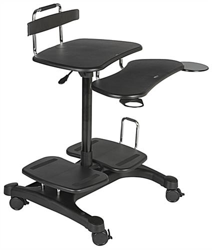 Adjustable Mobile Laptop Desk Multi Shelf Black Wheeled
