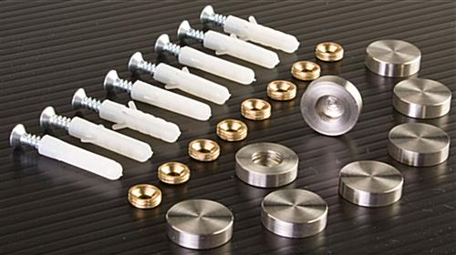 Stainless Steel Standoffs Cover Screws On Wall Mounted Signs
