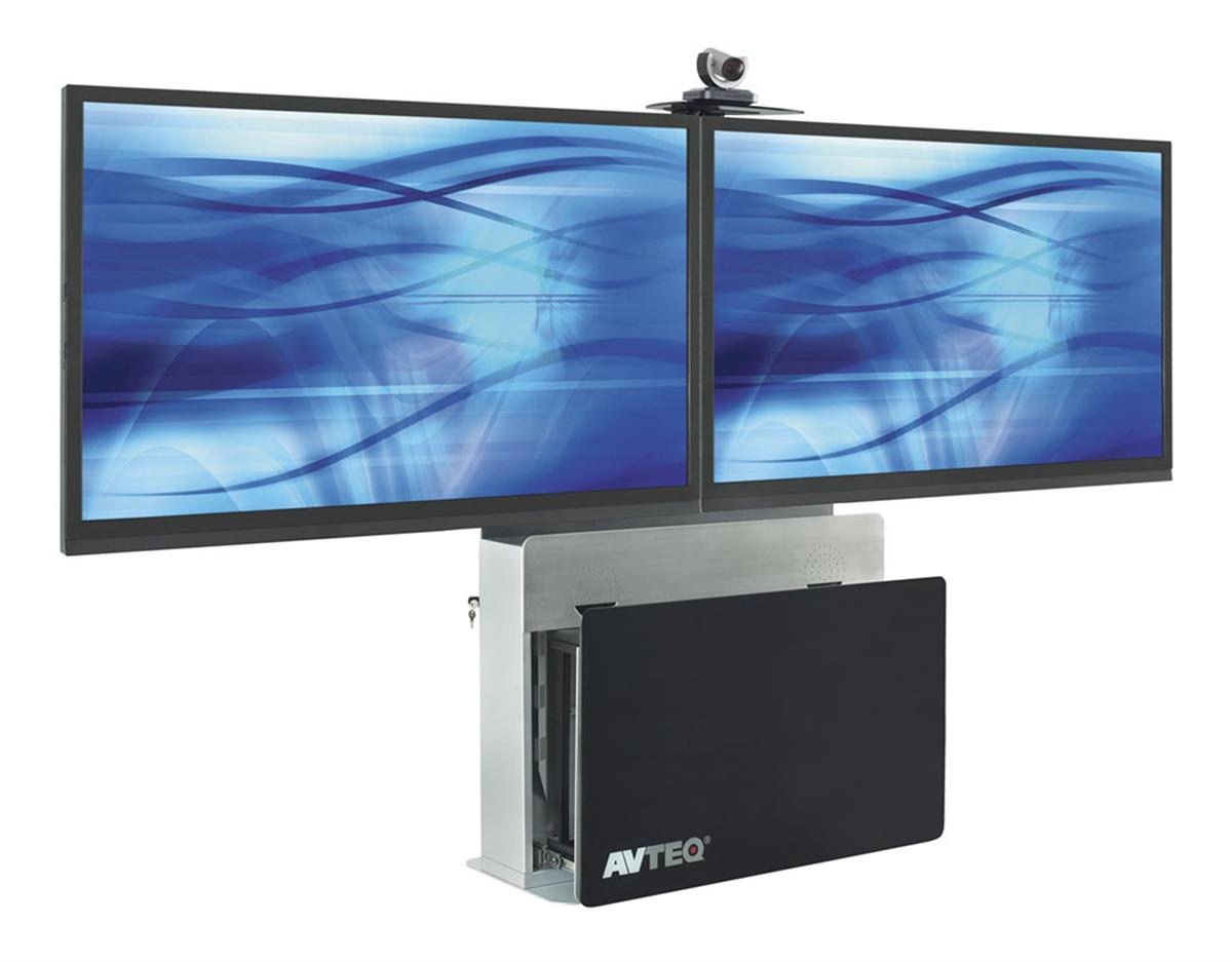 This Tv Stand Holds Two Flat Panel Monitors On The Steel