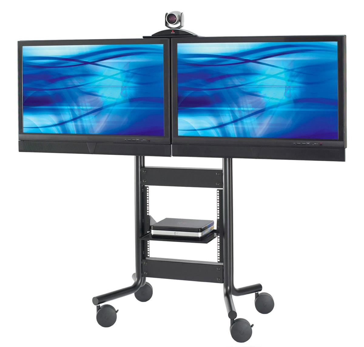 These Rolling Lcd Monitor Stands Feature An Adjustable