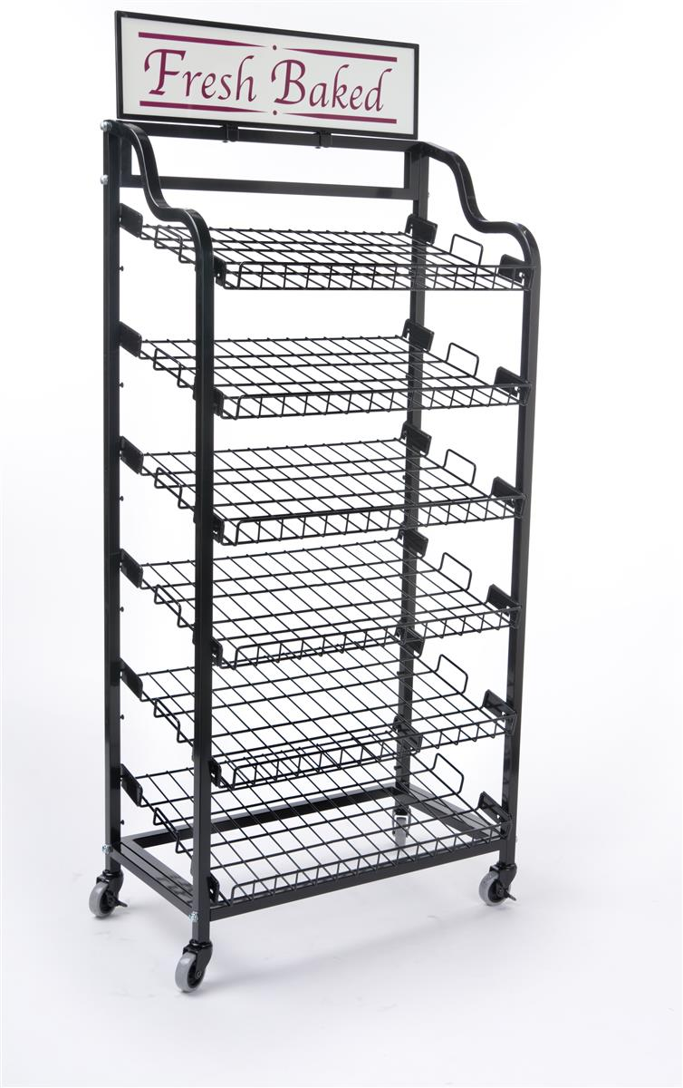 Bakery Display Rack Rolling Black Wire Racks