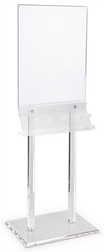 Clear Poster Stand with Business Card Pockets on One Rack