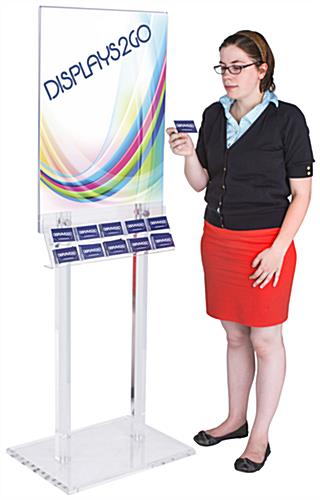 "67""h Clear Poster Stand with Business Card Pockets"