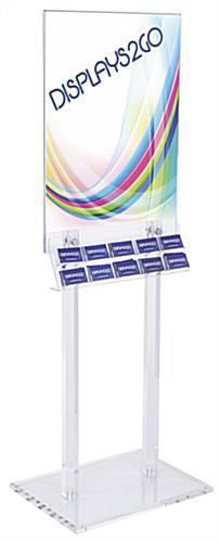 Double Sided Clear Poster Stand with Business Card Pockets