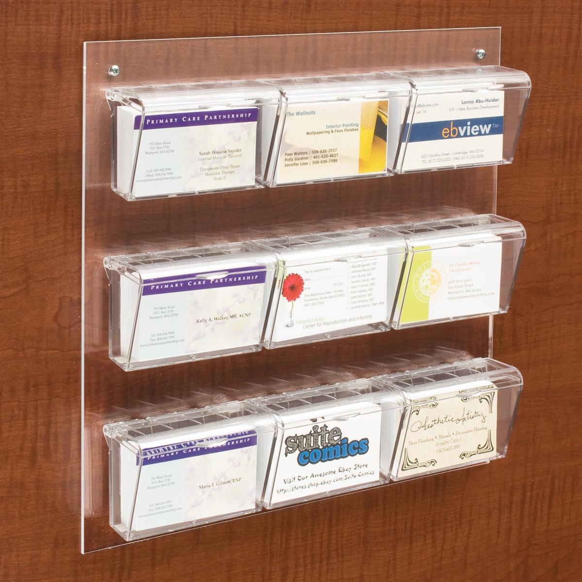 9-Pocket Card Display for Wall | Dispenser for 540 Contacts