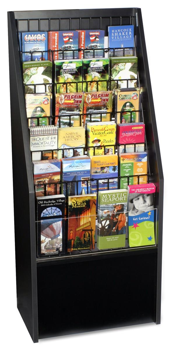 This Leaflet Holder Is A Tiered Black Floor Stand This Is