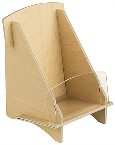 Plywood Brochure Holder Countertop Mounted Literature Stand