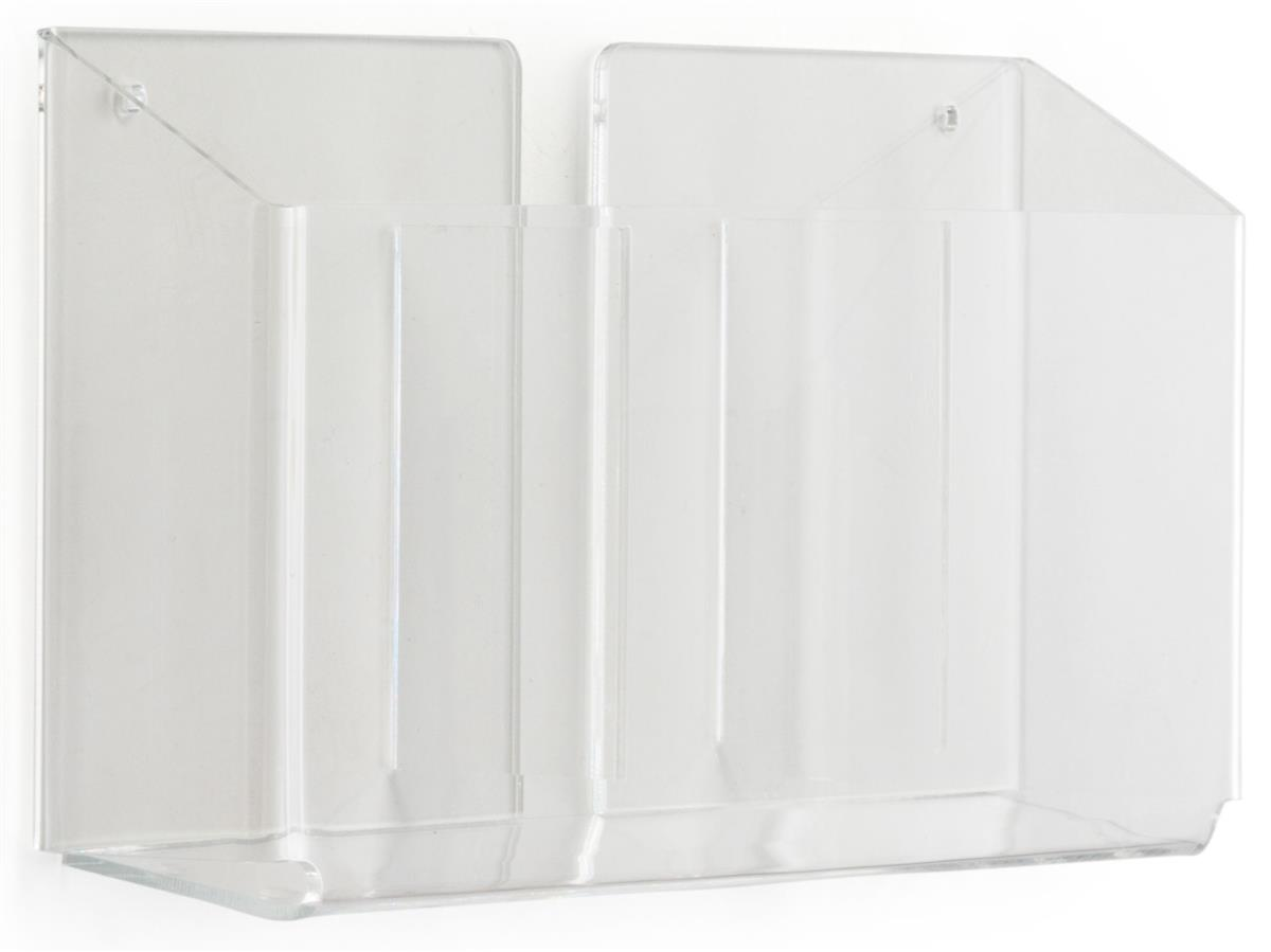 Wall Mount 3 Pocket Flyer Rack 2 Inch Deep Bins For Less
