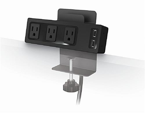 Clamp Mount Powered Display Charger 3 Outlet W Dual Usb Port