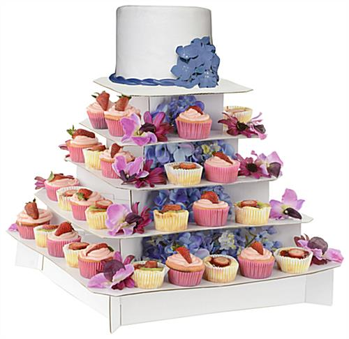 square cupcake stand classic white 5 tier cardboard display