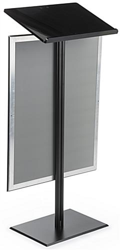 Black Economy Podium with Poster Frame and Acrylic Reading Surface