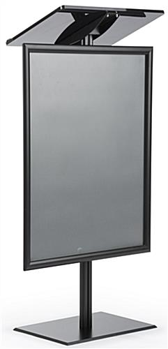 Black Economy Podium with Poster Frame on Aluminum Post and Base