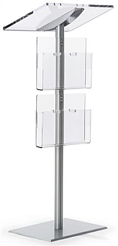 Silver Minimalist Lectern with Brochure Pockets on Adonized Aluminum Post & Base