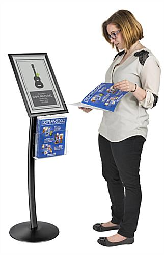 "11"" x 17"" Black Sign Stand with Magazine Pocket and Protective Lens"