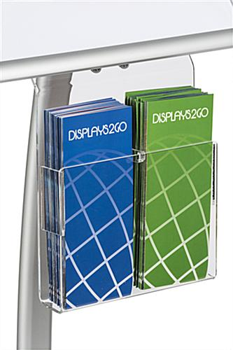 "11"" x 17"" Silver Sign Stand with Literature Pocket and Brochure Divider"
