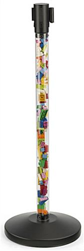 Fillable Clear Stanchion with Black Belt for Toy Stores
