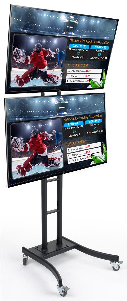 Dual Flat Panel Stands With Advertising Tvs Tilting Bracket