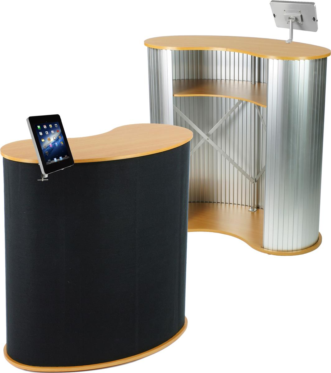 Trade Show Booth Kiosks : Trade show kiosk with tablet display presentation counter