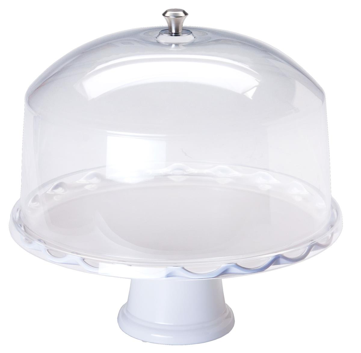 """15"""" White Cake Stand with Dome 