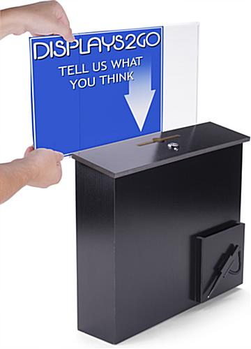 Black Donation Box with Side Insert