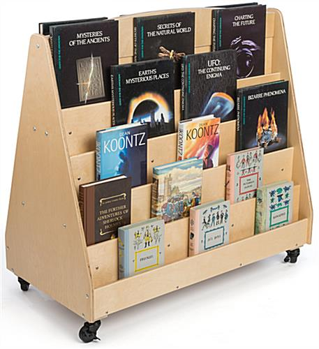 Book Shelf Unit For Kids Dual Sided Library Cart