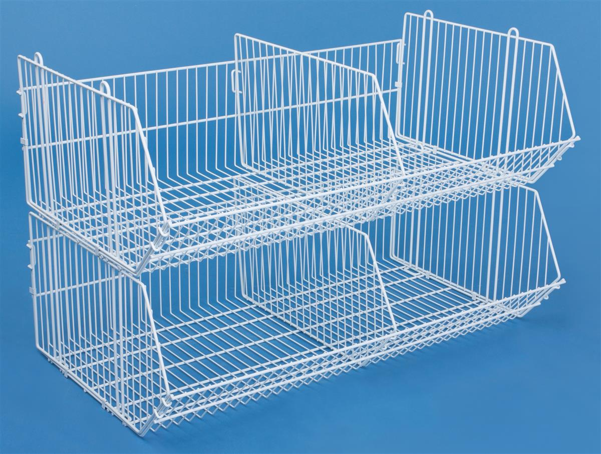 This White Wire Bin Creates 2 To 4 Baskets For Display Or