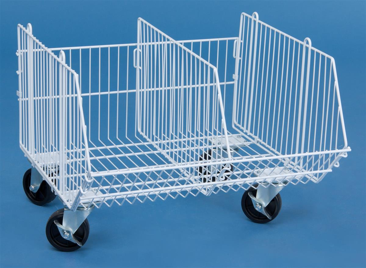 These Mobile Wire Storage Baskets Have Two Locking Wheels