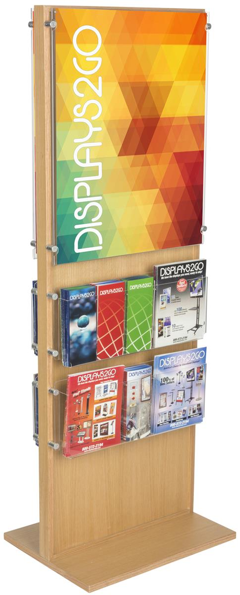 Oak 2 Sided 20 Pocket Poster Amp Brochure Holder 22x28