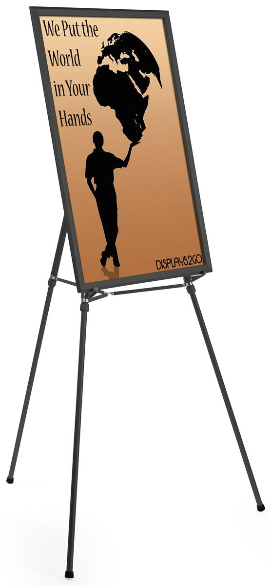 "Black Aluminum Easel Display | 24"" x 36"" Picture Mount"
