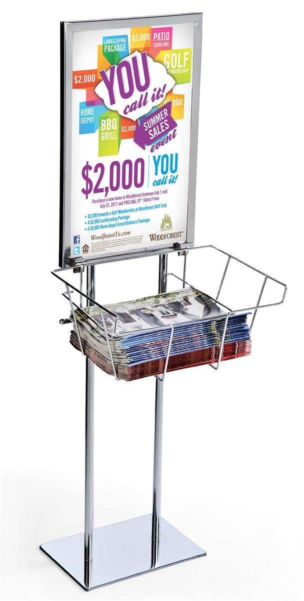 doublesided poster displays 14� x 22� silver metal sign