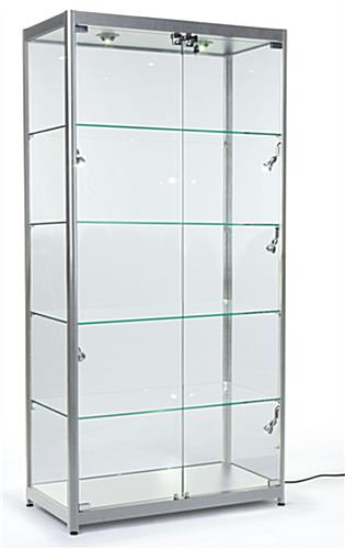 Silver Aluminum Frame Display Cases Lock To Keep Merchandise Secure