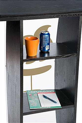Black Lectern with Personalized Graphic and Built-In Shelves
