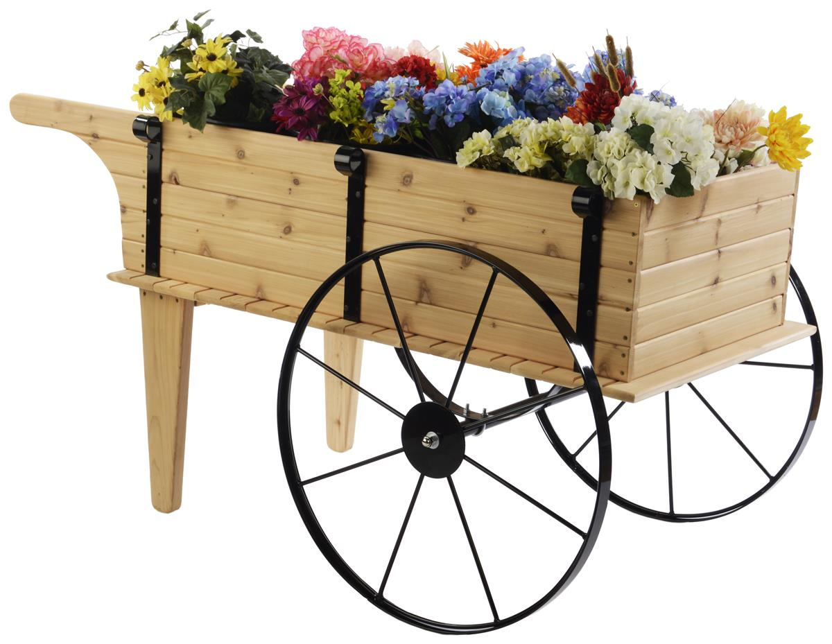 Outdoor Flower Wagon Wheeled Red Cedar Display Fixture