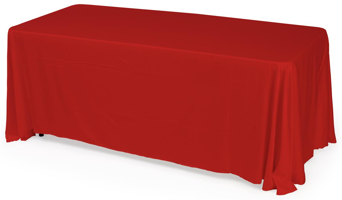 Folding Table With Red Tablecloth Polyester Fabric