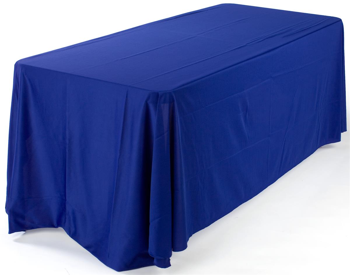 These Fabric Table Skirts In Blue Come With Foldable