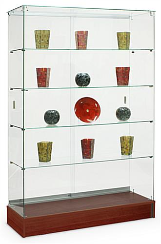 Glass Displays Feature Cherry Finish