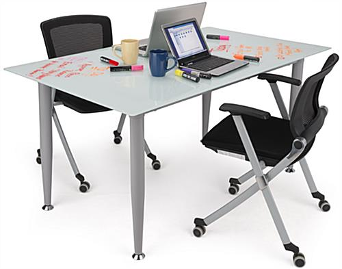Merveilleux ... Frosted Glass Whiteboard Desk With Room For Two People ...