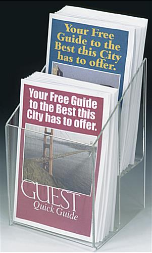 "2 Pocket Tiered Acrylic Brochure Racks For 5-1/2"" Literature"