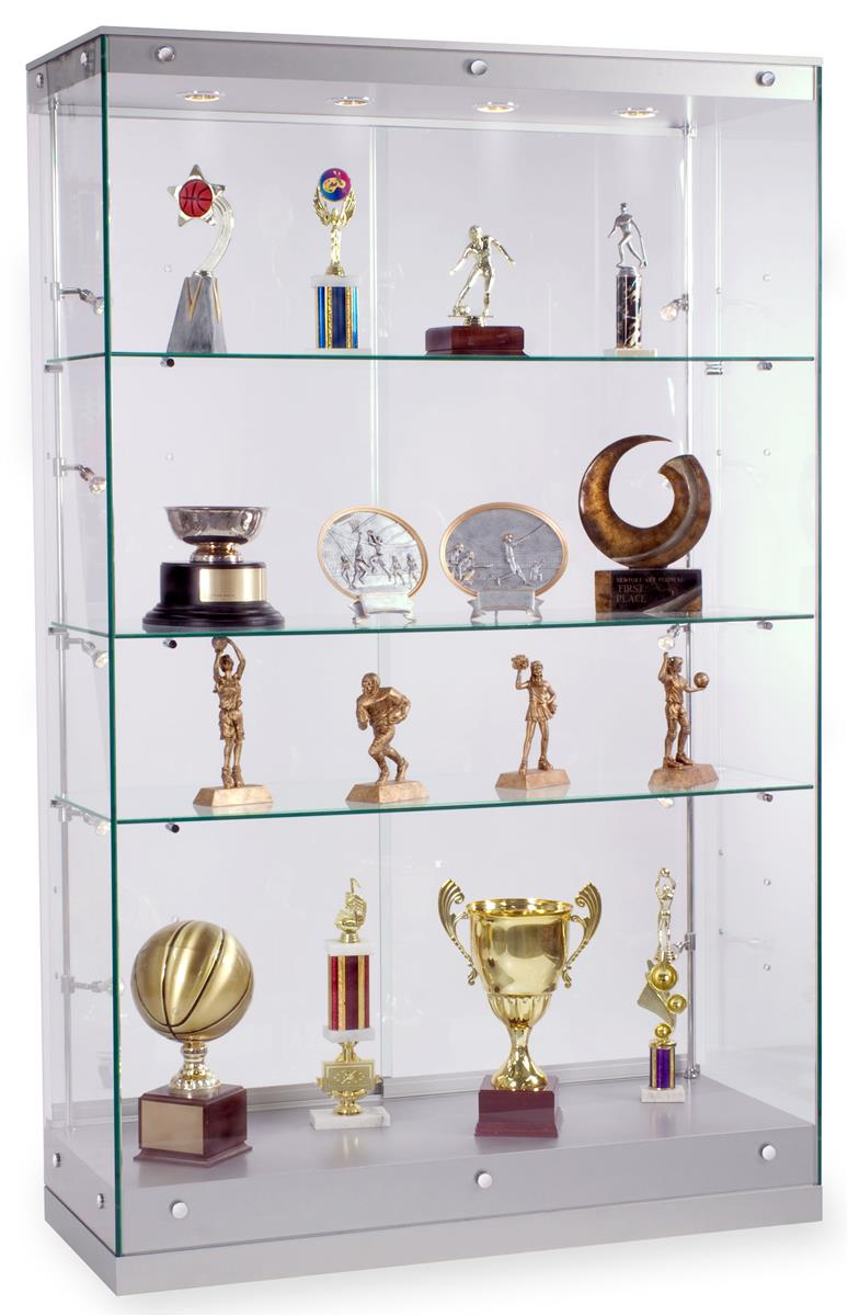 This Silver Trophy Case With Tempered Glass Ships Out