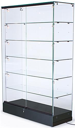 Display Cases: Feature Vertical Lighting & Adjustable Shelving - Semi Gloss Back MDF